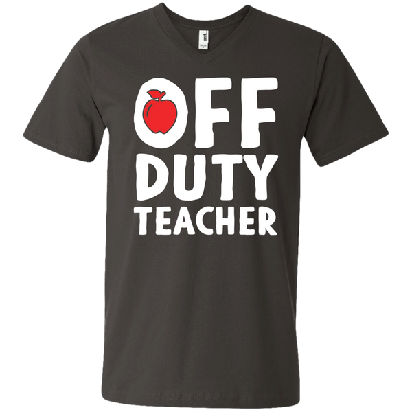 Off Duty Teacher  Men's Printed V-Neck T - TeachersLoungeShop - 4
