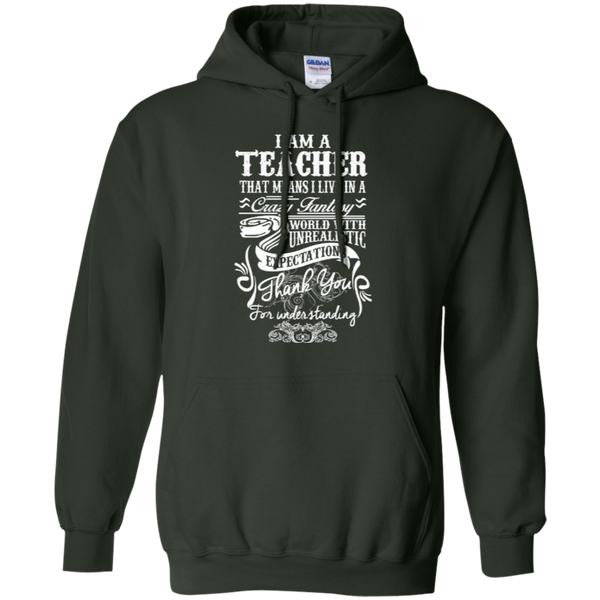 I Am a Teacher That Means I Live in a Crazy Fantasy World with Unrealistic Expectations Pullover Hoodie 8 oz - TeachersLoungeShop - 6