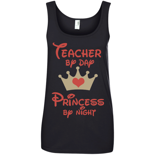 Teacher by Day Princess by Night Ladies' 100% Ringspun Cotton Tank Top - TeachersLoungeShop - 2