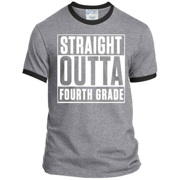 Straight Outta Fourth Grade  Ringer  Tee - TeachersLoungeShop - 2