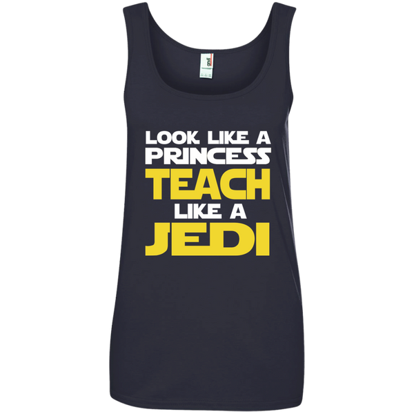 Look Like a Princess Teach Like a Jedi Ladies' 100% Ringspun Cotton Tank Top - TeachersLoungeShop - 4