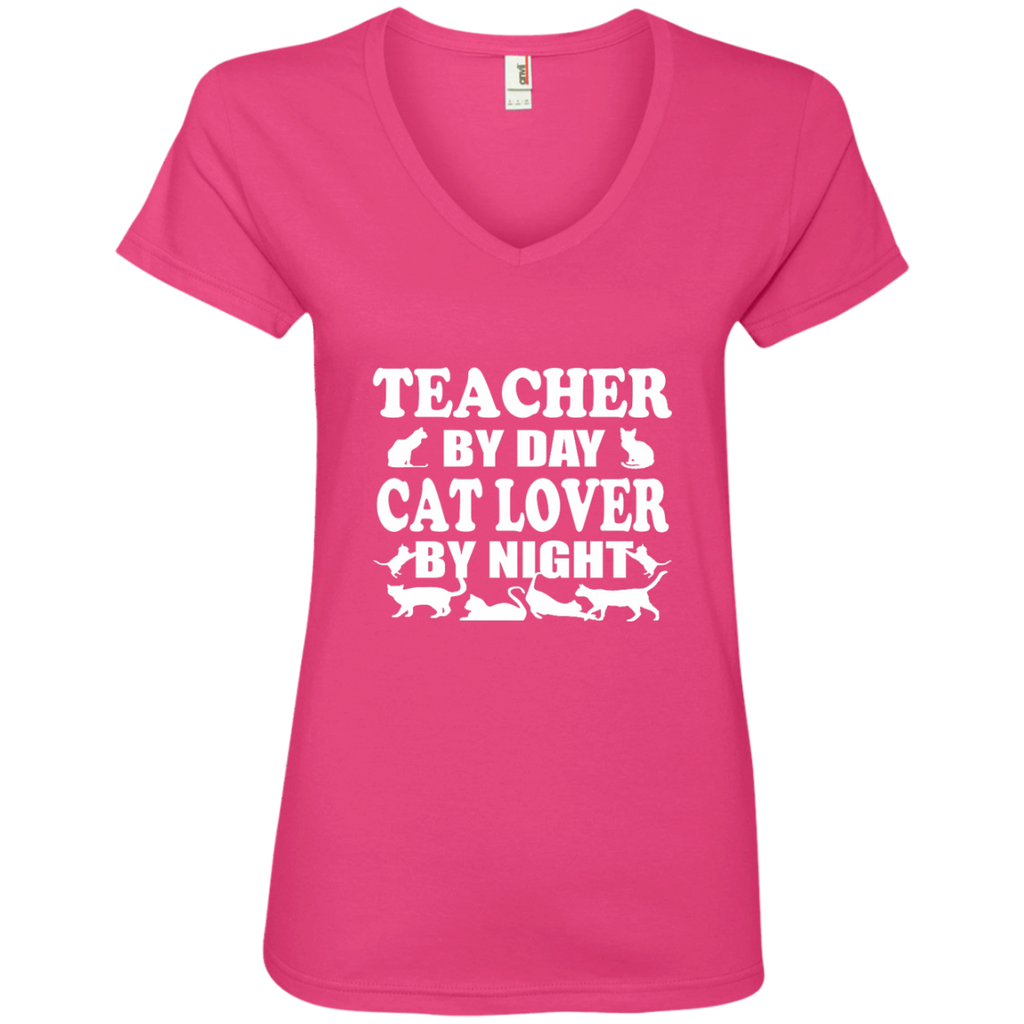 Teacher by Day Cat Lover by Night Ladies' V-Neck Tee - TeachersLoungeShop - 1