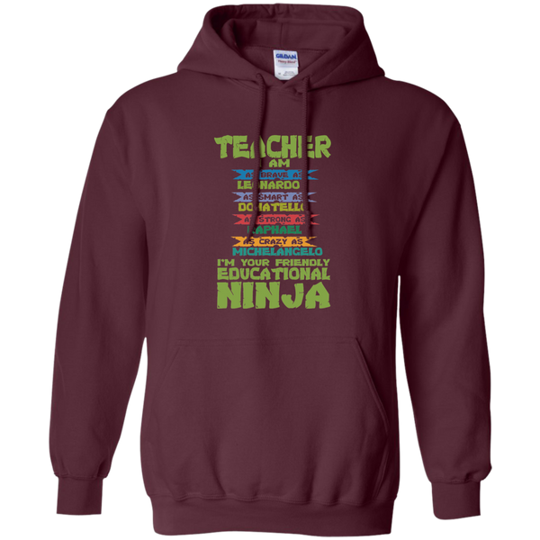 Teacher I'm Your Friendly Educational Ninja Pullover Hoodie 8 oz - TeachersLoungeShop - 10