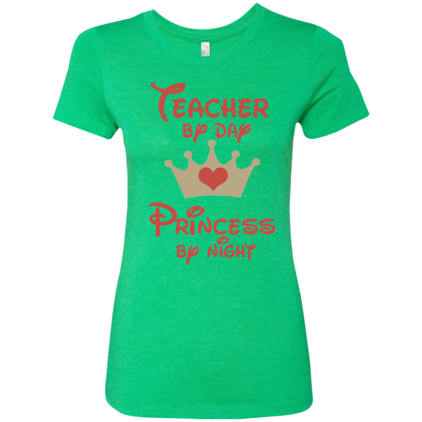 Teacher by Day Princess by Night Next Level Ladies Triblend T-Shirt - TeachersLoungeShop - 2
