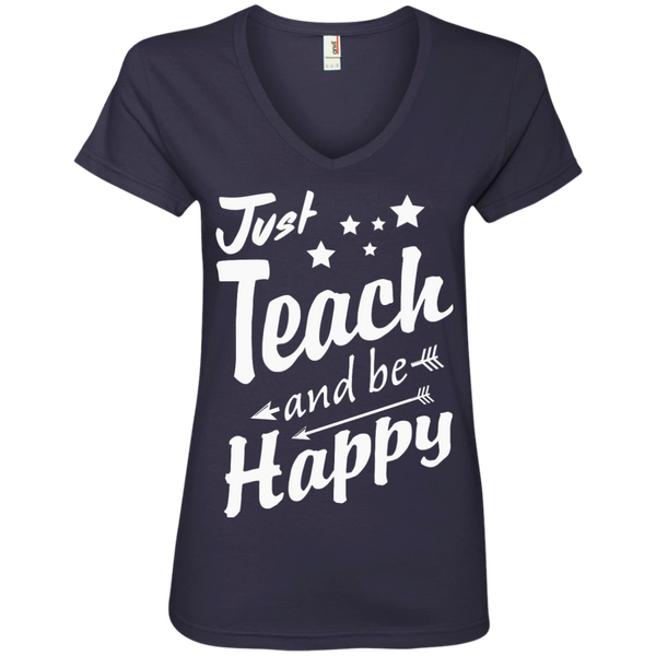 Just Teach and Be Happy  V-Neck Tee - TeachersLoungeShop - 4