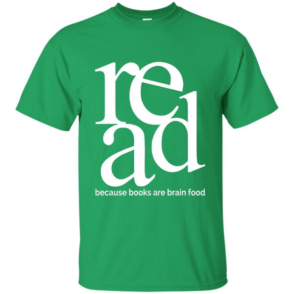 Read Because Books Are Brain Food Cotton T-Shirt - TeachersLoungeShop - 3