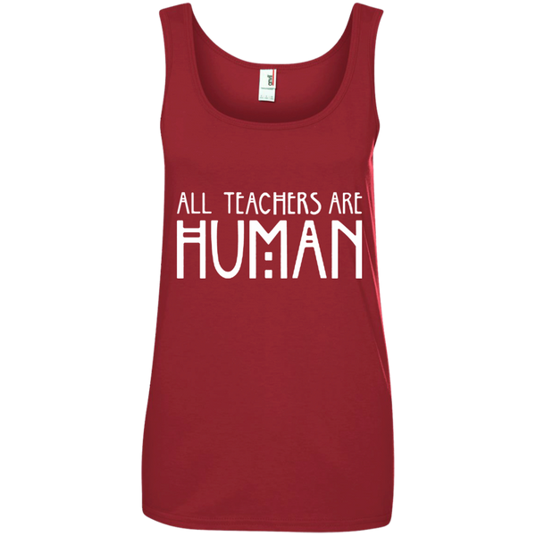 All Teachers Are Human Ladies' 100% Ringspun Cotton Tank Top - TeachersLoungeShop - 3