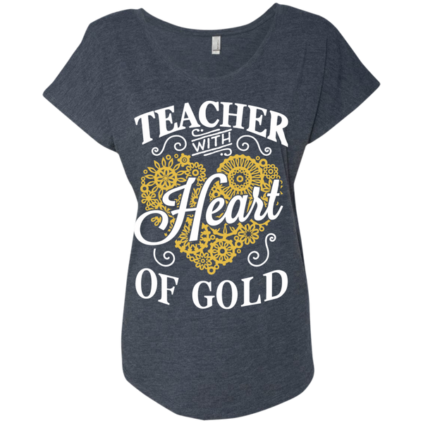 Teacher with Heart of Gold  Level Ladies Triblend Dolman Sleeve - TeachersLoungeShop - 5