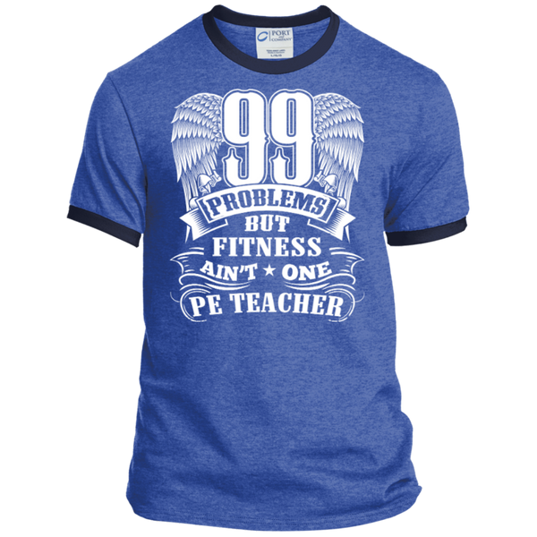 99 Problems But Fitness Ain't One PE Teacher Ringer Tee - TeachersLoungeShop - 6
