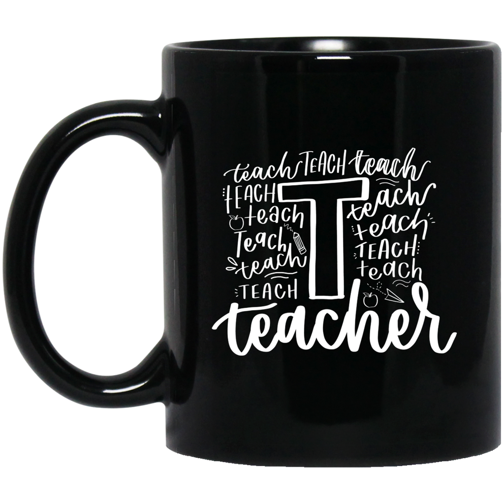 Teacher  cloud word.   11 oz. Black Mug