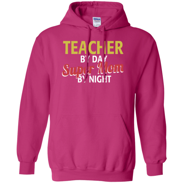 Teacher by Day Super Mom By Night  Hoodie 8 oz - TeachersLoungeShop - 6