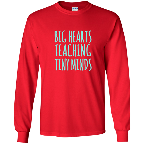Big Hearts Teaching Tiny Minds LS Ultra Cotton Tshirt - TeachersLoungeShop - 7