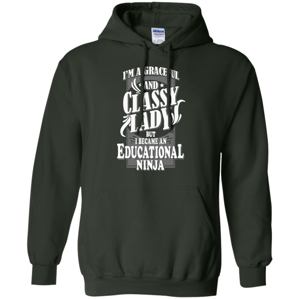 I'm a Graceful and Classy Lady but I became an Educational Ninja Pullover Hoodie 8 oz - TeachersLoungeShop - 6