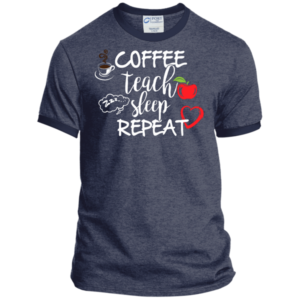 Coffee Teach Sleep Repeat Ringer Tee - TeachersLoungeShop - 5