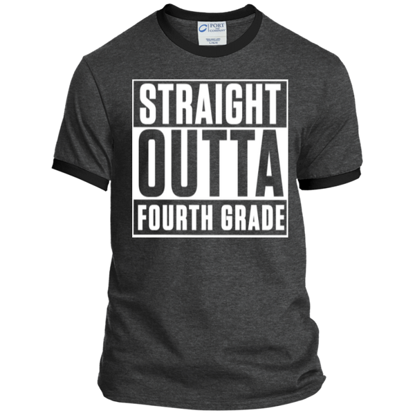 Straight Outta Fourth Grade  Ringer  Tee - TeachersLoungeShop - 3