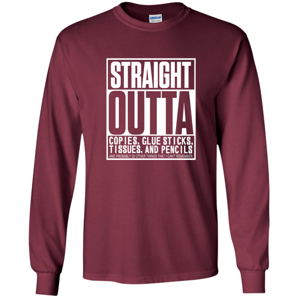Straight Outta Copies Glue Sticks Tissues and Pencils LS Ultra Cotton Tshirt - TeachersLoungeShop - 7