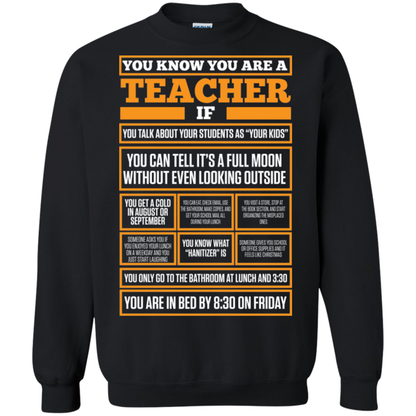 You know You are a Teacher if  Crewneck Pullover Sweatshirt  8 oz - TeachersLoungeShop - 1