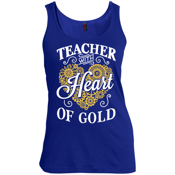 Teacher with Heart of Gold  Scoop Neck Tank Top - TeachersLoungeShop - 3
