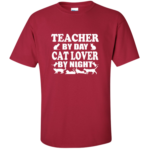 Teacher by Day Cat Lover by Night Cotton T-Shirt - TeachersLoungeShop - 9