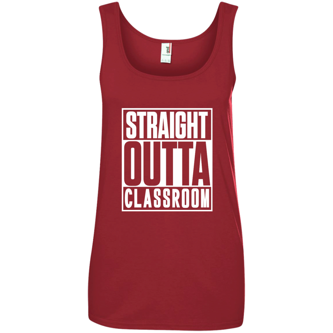 Straight Outta Classroom Ladies' 100% Ringspun Cotton Tank Top - TeachersLoungeShop - 1