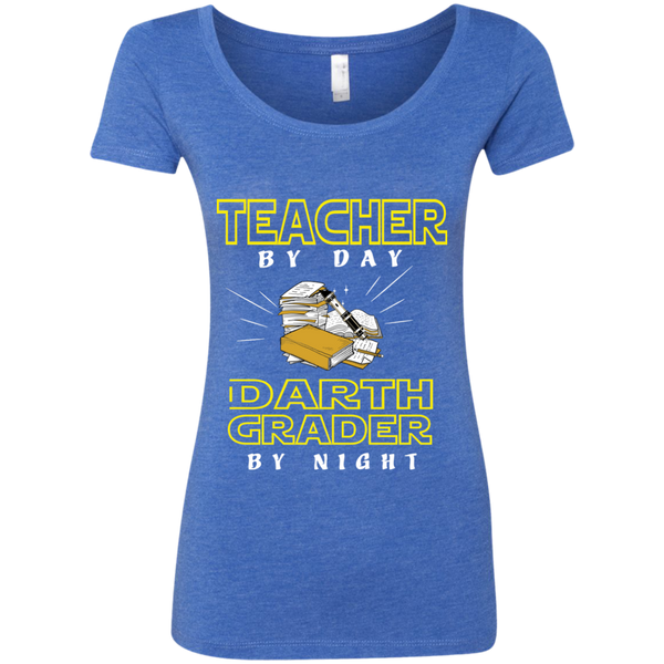 Teacher By Day Darth Grader By Night Next Level Ladies Triblend Scoop - TeachersLoungeShop - 6