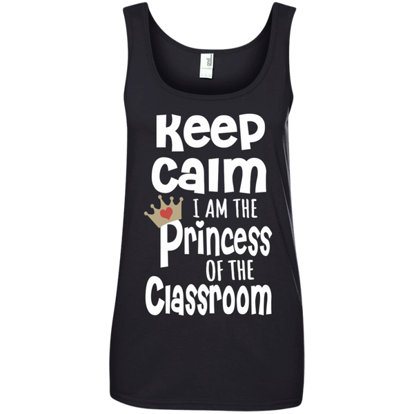 Keep Calm I am the Princess of the Classroom Ladies' 100% Ringspun Cotton Tank Top - TeachersLoungeShop - 2