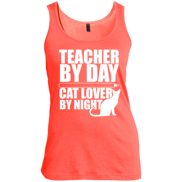 Teacher by Day Cat Lover by Night Womens Scoop Neck Tank Top - TeachersLoungeShop - 3