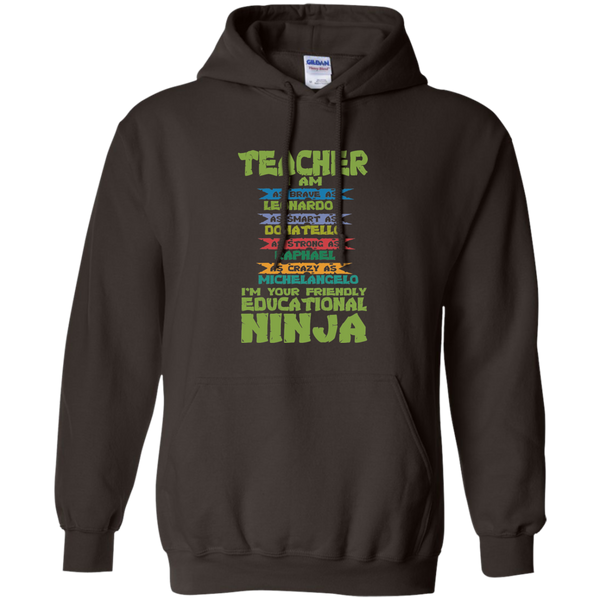 Teacher I'm Your Friendly Educational Ninja Pullover Hoodie 8 oz - TeachersLoungeShop - 5