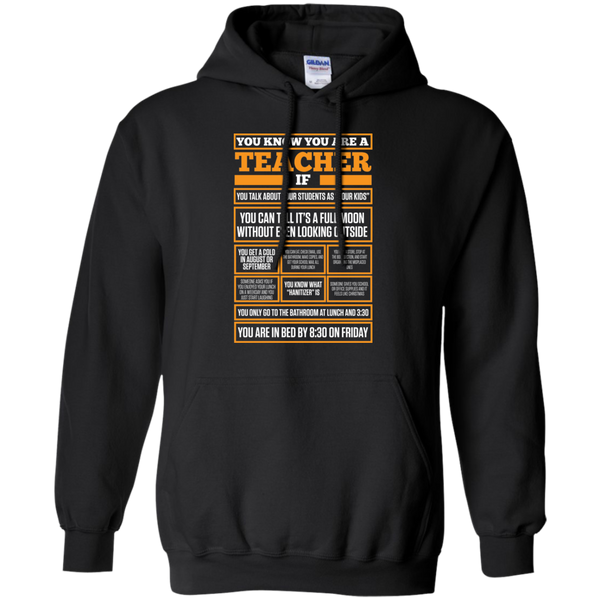 You know You are a Teacher if  Hoodie 8 oz - TeachersLoungeShop - 1