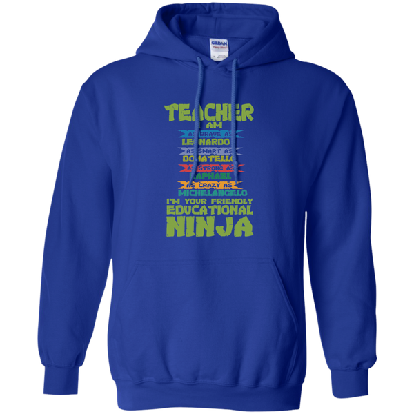 Teacher I'm Your Friendly Educational Ninja Pullover Hoodie 8 oz - TeachersLoungeShop - 12