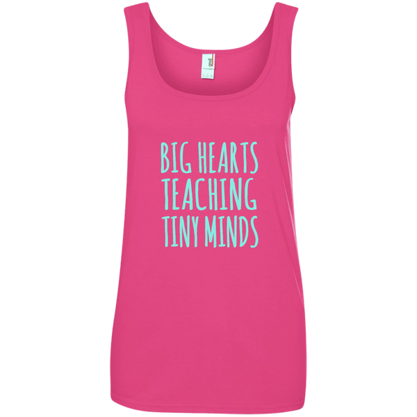Big Hearts Teaching Tiny Minds Ladies' 100% Ringspun Cotton Tank Top - TeachersLoungeShop - 3