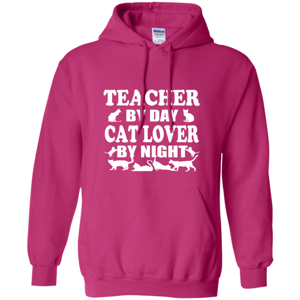 Teacher by Day Cat Lover by Night Pullover Hoodie 8 oz - TeachersLoungeShop - 7