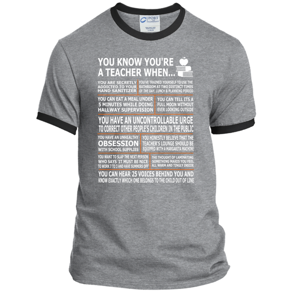 You Know You're a Teacher When Ringer Tee - TeachersLoungeShop - 2