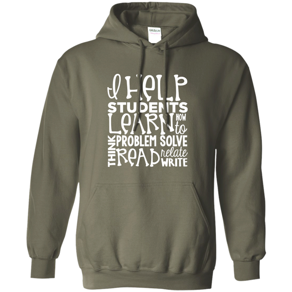I Help Students Learn Think Problem Solve Read Relate Write Pullover Hoodie 8 oz - TeachersLoungeShop - 9