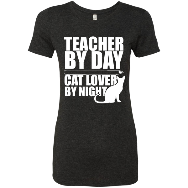 Teacher by Day Cat Lover by Night Next  Level Ladies Triblend T-Shirt - TeachersLoungeShop - 3