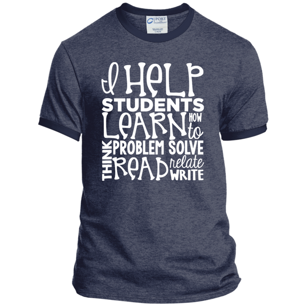 I Help Students Learn Think Problem Solve Read Relate Write Ringer Tee - TeachersLoungeShop - 5