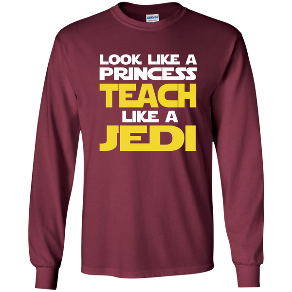 Look Like a Princess Teach Like a Jedi LS Ultra Cotton Tshirt - TeachersLoungeShop - 7