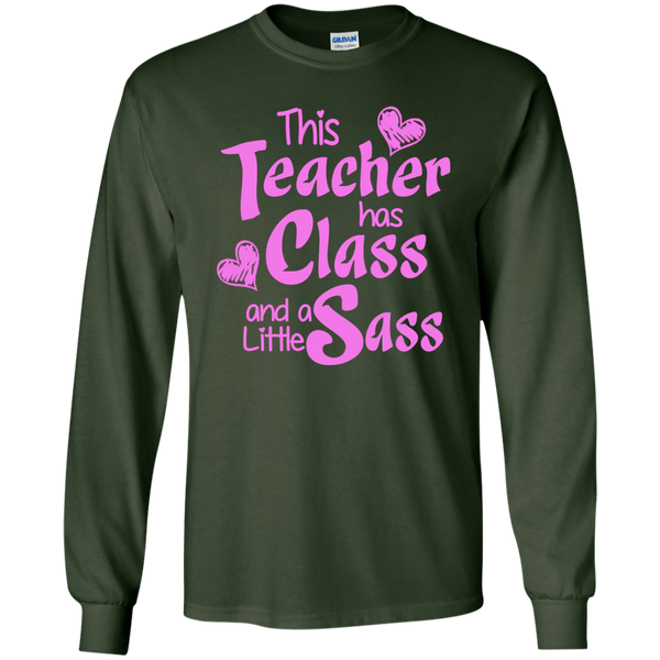 This Teacher has Class and a Little Sass LS Ultra Cotton Tshirt - TeachersLoungeShop - 5