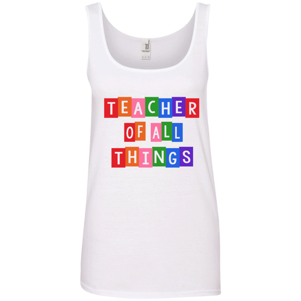 Teacher of all Things Ladies' 100% Ringspun Cotton Tank Top - TeachersLoungeShop - 3