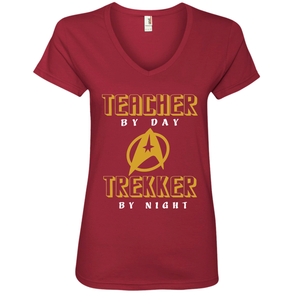 Teacher By Day Trekker By Night Ladies' V-Neck Tee - TeachersLoungeShop - 3