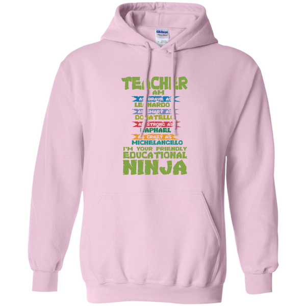 Teacher I'm Your Friendly Educational Ninja Pullover Hoodie 8 oz - TeachersLoungeShop - 9