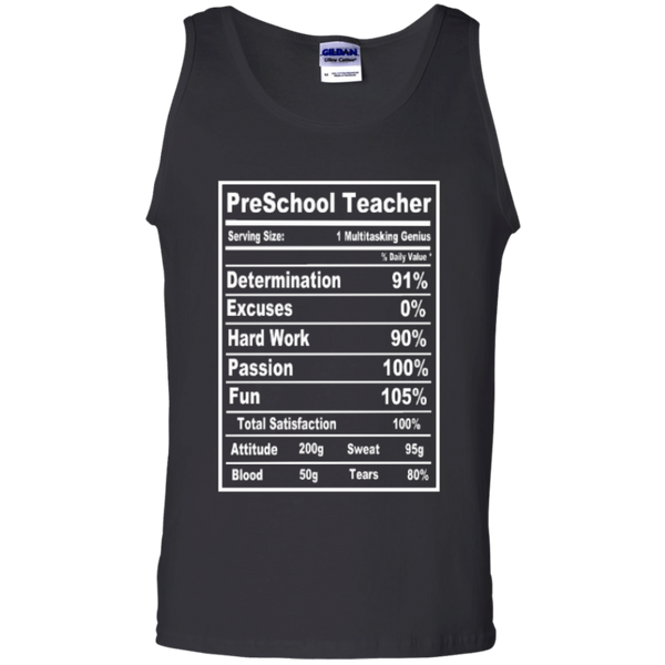 PreSchool Teacher Serving Size Nutrition  100% Cotton Tank Top - TeachersLoungeShop - 1