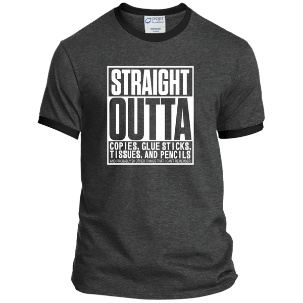 Straight Outta Copies Glue Sticks Tissues and Pencils Ringer Tee - TeachersLoungeShop - 2