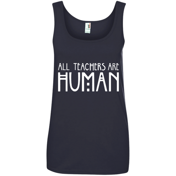 All Teachers Are Human Ladies' 100% Ringspun Cotton Tank Top - TeachersLoungeShop - 4