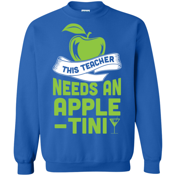 THIS TEACHER NEEDS AN APPLE-TINI Crewneck Pullover Sweatshirt  8 oz - TeachersLoungeShop - 5