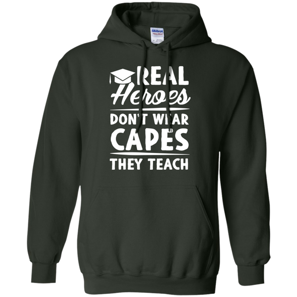 Real Heroes Dont wear capes They Teach   Hoodie 8 oz - TeachersLoungeShop - 7