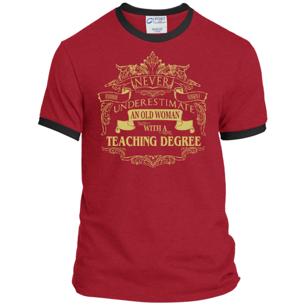 Never Underestimate An Old Woman With A Teaching Degree Ringer Tee - TeachersLoungeShop - 3