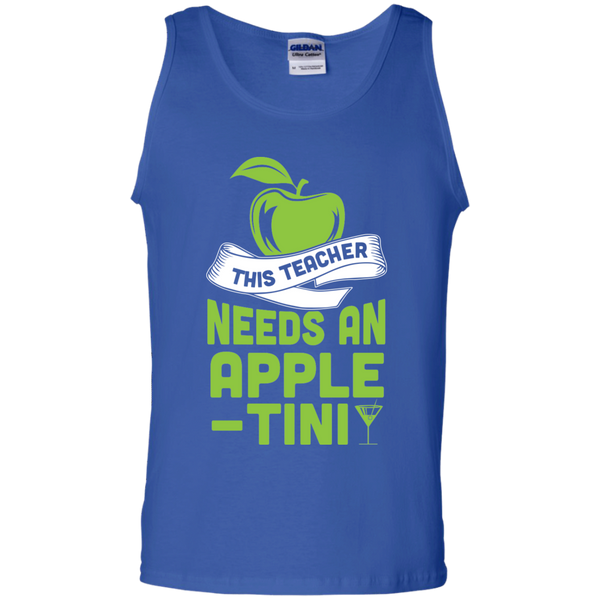 THIS TEACHER NEEDS AN APPLE-TINI   Cotton Tank Top - TeachersLoungeShop - 4