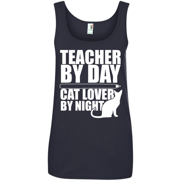 Teacher by Day Cat Lover by Night 100% Ringspun Cotton Tank Top - TeachersLoungeShop - 4