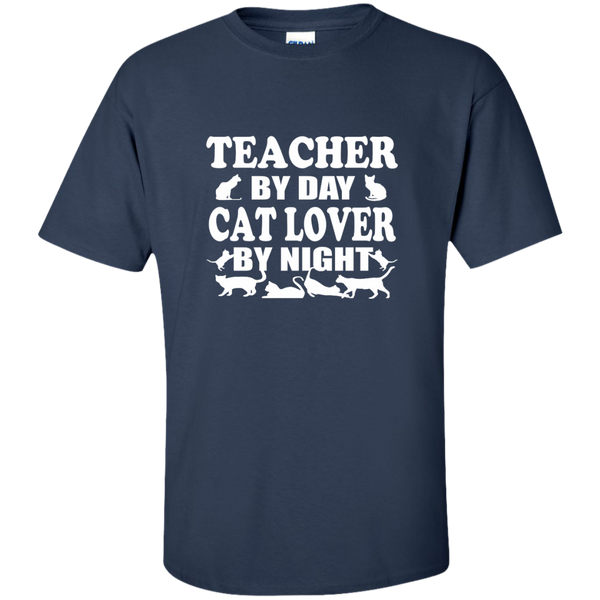 Teacher by Day Cat Lover by Night Cotton T-Shirt - TeachersLoungeShop - 4